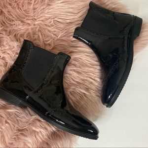 Ecco Touch 15 Mid Cut Patent Leather Boots Black
